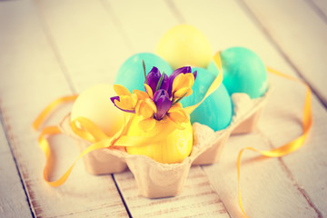 Flowers and easter eggs