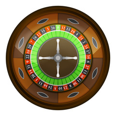wooden roulette wheel in top view vector isolated