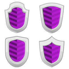 violet shields set with stripes isolated