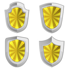 yellow shields set with stripes isolated
