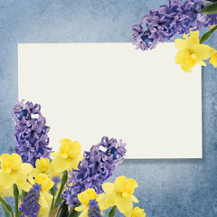 Holiday background with spring flowers  and empty  place for you