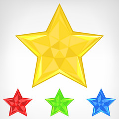 four color star element set isolated