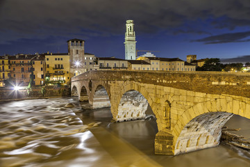 Bridge Ponte Pietra in the evening, Verona