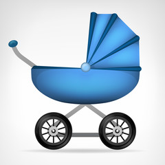 boys blue stroller object isolated vector