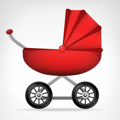 girly red stroller object isolated vector