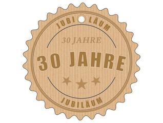je30 JubiläumsEtikett 30 - vintagedesign - 30 Jahre - g1930