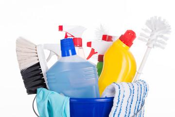 Cleaning equipment in bucket