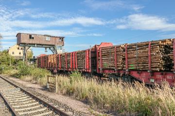 Holzkran Güterwagon mit Holz