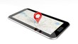 Tablet with map on screen and red pin isolated - 71393343