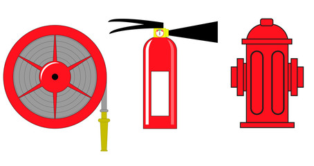 Fire hydrant and  extinguisher vector illustration .