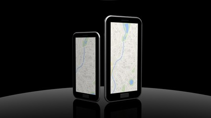 Tablet and smartphone with map isolated on black