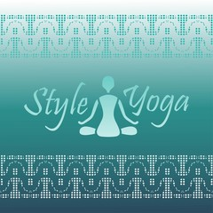yoga style logo silhouette figure with Lotus design