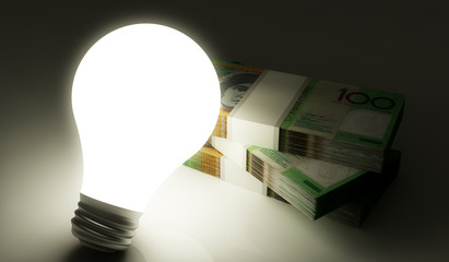 Lightbulb with stack of money