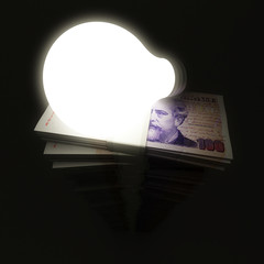 Argentine peso stack with shining lightbulb