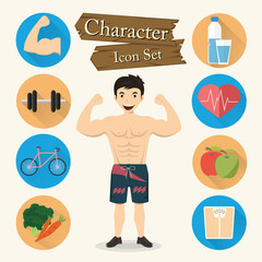 Muscular man character Icon set vector