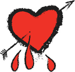 doodle heart and cupid arrow