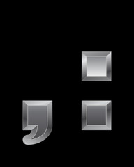 rectangular beveled metal font - comma and 2 dots