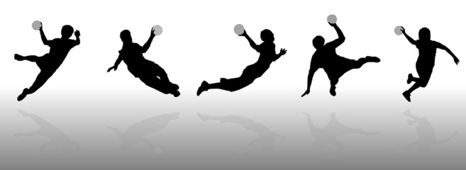 set of handball silhouette