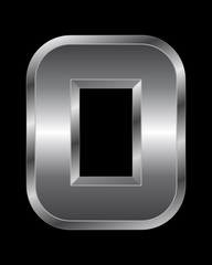 rectangular beveled metal font - number 0