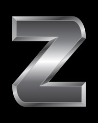 rectangular beveled metal font - letter Z