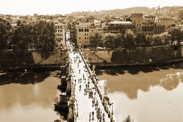 Rome, Italy. River Tiber, Sacred Angel bridge