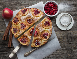 pie with apples, cranberries and cinnamon