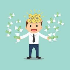 Businessman with bulb idea head flying money in hand vector illu