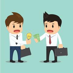 Businessman change bulb idea and money vector illustration