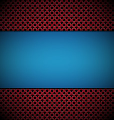 blank blue plate for design on red grill texture background vect
