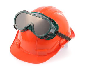 helmet and Safety glasses