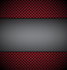 blank gray plate for design on red grill texture background vect