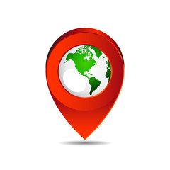 Map pin pointer icon earth  North America  vector