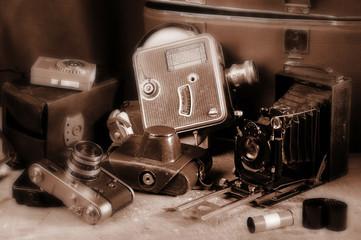 Vintage still-life with old retro cameras
