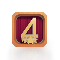 Graphic illustration icon with number four and four stars on a w