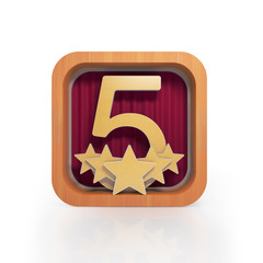 Graphic illustration icon with the number five and five stars on