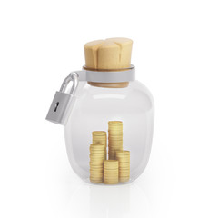 Graphic illustration icon glass jar with money and closed on the