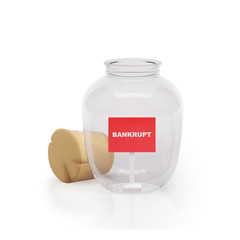 Graphic illustration icon glass jar with a sign bankrupt white b