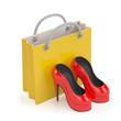 3d illustration. Buy women's shoes