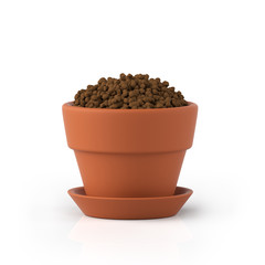 3D illustration. Clay pot with the earth on a white background