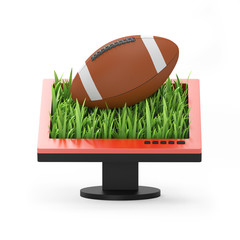 3d illustration: Monitor with a rugby ball on white background