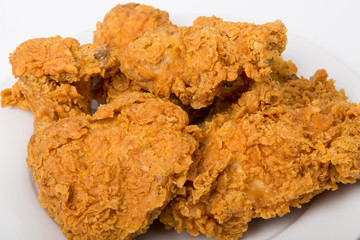 Closeup of Fried Chicken on white Plate
