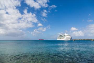 Cruise Ship Across Calm Blue Bay