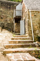 Old Concrete Block Steps and Building