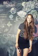 back to school after summer vacations, cute teen girl in