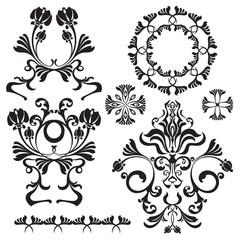 Set of ornamental flowers for design
