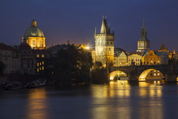 Charles Bridge at night, Prague, Czech Republic