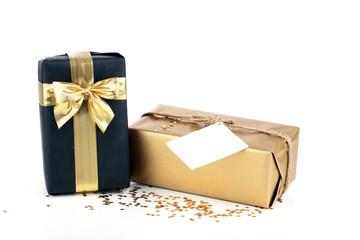 Golden and black christmas gift box