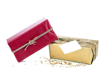 Golden and red christmas gift box