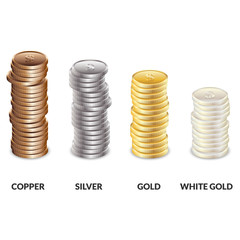 Set of columns of coins of different metals. Bars of dollars