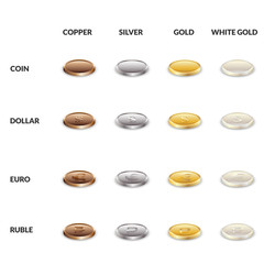 Set icons of coins from different metals